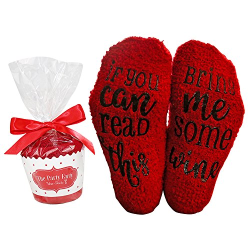 Wine Socks Red with Cupcake Gift Packaging: Wine lover Gifts for Women with If You Can Read This Bring Me Some Wine Luxury-Funny Wine Accessory for Her - Present for Wife and Women by The Party Farty