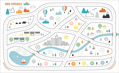 Disposable Placemats for Baby Toddlers Kids, Table Topper Disposable Placemats - Biodegradable BPA-Free Premium Super Sticky Stick-on Place Mats - Roadmap by Mini Explorers (60 Count) by Mini Explorers