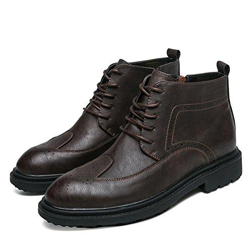 Bottes en courtes Bottes Café pour confortable Chaussures hommes hommes Lace de Up cuir imperméables cheville Ajustement pour AHTqg