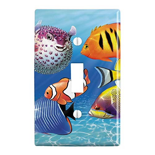 GRAPHICS & MORE Tropical Coral Reef Fish Clown Plastic Wall Decor Toggle Light Switch Plate Cover