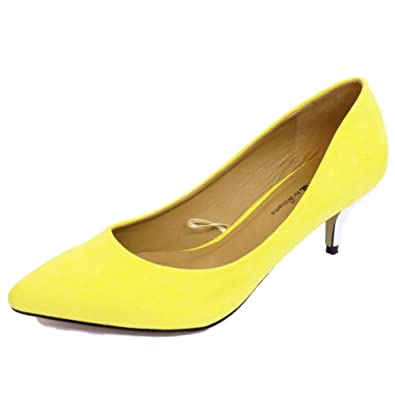 7bc8956aa7e1 Ladies Yellow Low Kitten Heel Slip-On Court Pointy Shoes Work Pumps Sizes  4-9 (Standard   Extra Wide)  Amazon.co.uk  Shoes   Bags