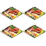 Luxlady Natural Rubber Square Coaster IMAGE ID: 25188406 Composition with assorted organic grocery products