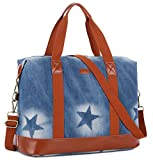 BAOSHA HB-28 Women Ladies Weekender Bag Overnight Carry-on Tote Duffel in Trolley Handle (Blue Star)