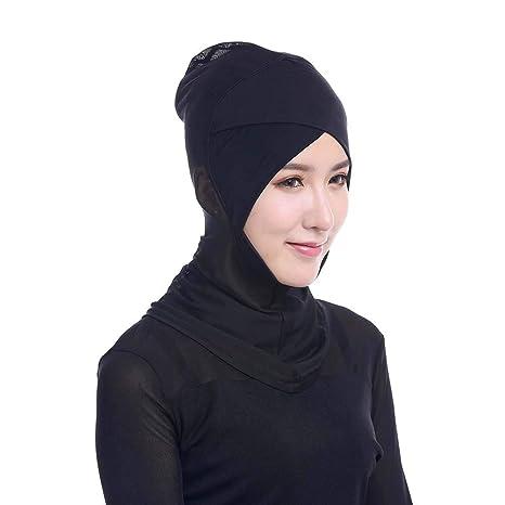 BESTOYARD Mujeres Ajustable musulmán Hijab Cuello Cubierta Bufanda Bonete Interior Hijab Tapa Cubierta Completa Hueso Dama