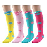 Deer Mum Girl's Princess Style Knee High Cotton Socks 3Y-6Y