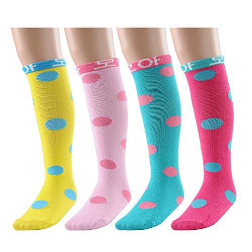 Deer Mum Girl's Princess Style Knee High Cotton Socks (dot-4-pair) (Knee Socks Girls)