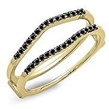 DazzlingRock Collection 0.18 Carat (ctw) 14K Yellow Gold Black Diamond Ladies Wedding Band Enhancer Guard Double Ring (Size 6.5)
