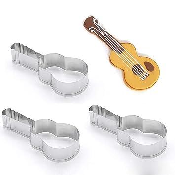 Cortador de pastelería con forma de instrumento musical de acero inoxidable decoración de pastel de chocolate DIY fondant molde (3PCS): Amazon.es: Hogar