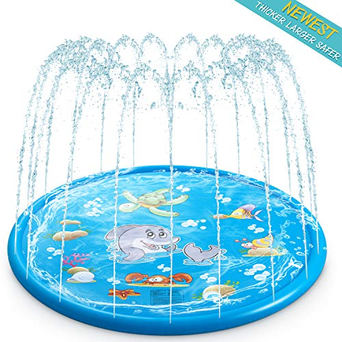 TIKTOK Water Sprinkler Pad for Kids, Upgraded 68' Summer Outdoor Water Toys Wading Pool Splash Play Mat for Toddlers Baby, Outside Water Play Mat for 1-12 Years Old Children Boys Girls