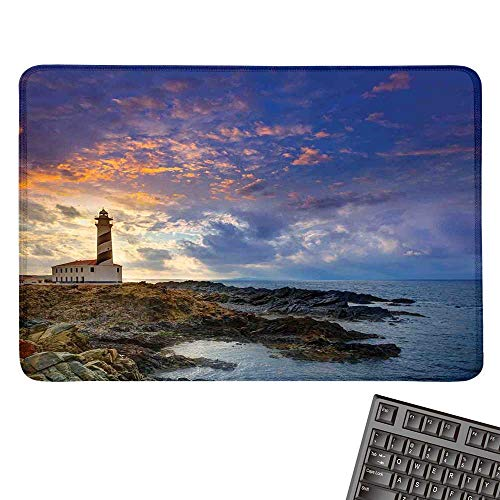 Lighthouse DecorE-Sports Gaming Mouse PadCap de Favaritx Sunset Lighthouse Cape in Mahon at Balearic Islands of Spain CoastNonslip Rubber Base 15.7
