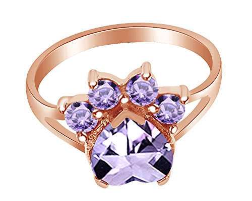 wishrocks Heart & Round Cut Simulated Alexandrite Paw Print Ring in 14K Rose Gold Over Sterling Silver (Alexandrite Cut Ring)