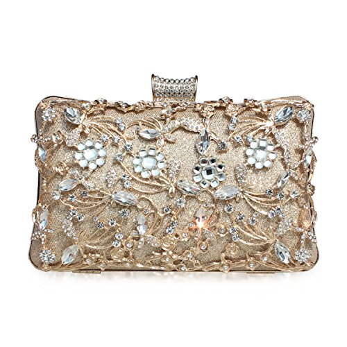 GESU Large Womens Crystal Evening Clutch Bag Wedding Purse Bridal Prom Handbag Party Bag.(Gold-1)