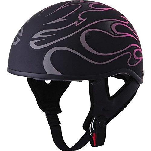 Fly Racing 357 Half Adult Harley Cruiser Motorcycle Helmet - Pink Flame/Large