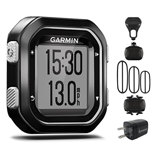 Garmin Edge 25 GPS Cycling Computer 010-03709-20 with Garmin Speed and Cadence Sensors with extra Wearable4U Wall Charging Adapter Bundle by Garmin/Wearable4U