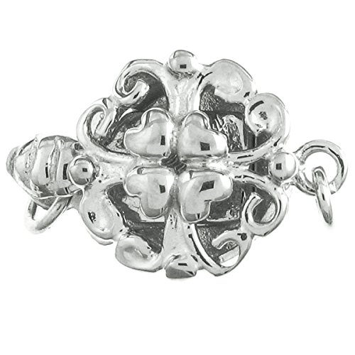 .925 Sterling Silver Heart Flower 1-strand Pearl Box Clasp 14mm Connector Switch Bead
