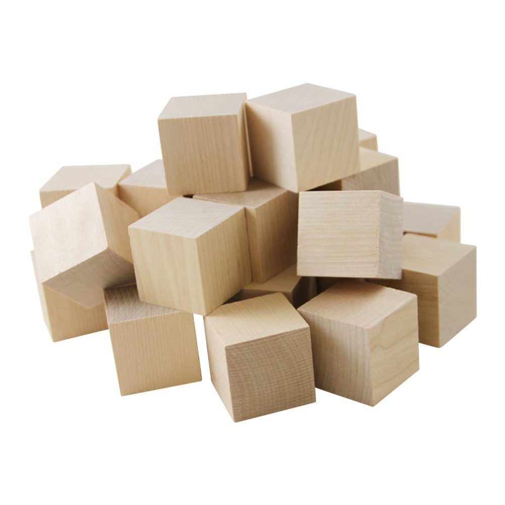 """Wooden Cubes – 1"""" Baby Wood Square Blocks – For Puzzle Making, Crafts, And DIY Projects – 1000 Pieces by Woodpecker Crafts"""