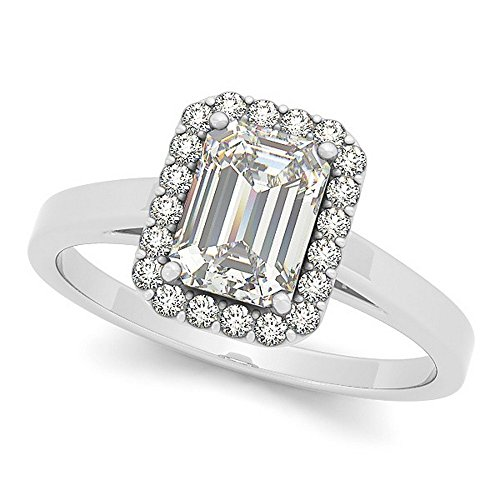 Emerald Cut, Multi-Faceted Rectangular Diamond Halo Engagement Ring Set in 14k White Gold (0.35ct) - Rectangular Diamond Set
