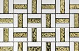 Gold Sea Drop with Thassos Mosaic for Bathroom Floors and Wall Tile, Kitchen Backsplashes, Pool Tile(12'' x 12'',