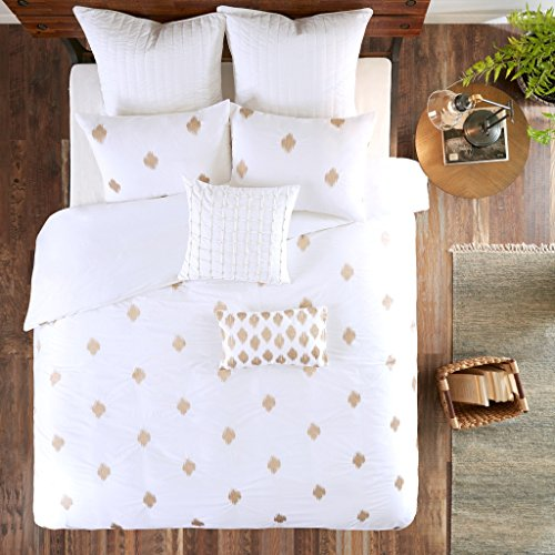 - Ink+Ivy Stella Dot Duvet Cover King/Cal King Size - White Gold, Embroidered Duvet Cover Set - 3 Piece - Cotton Light Weight Bed Comforter Covers
