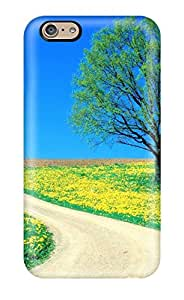 Top Quality Case Cover For Iphone 6 Case With Nice Spring Road Grey Green Yellow Tree Clean Blue Season Life Beginning Flowers Nature Spring Appearance
