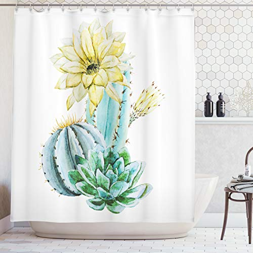Ambesonne Succulent Shower Curtain by, Watercolor Style Cactus Composition Exotic Climate Flora Art, Fabric Bathroom Decor Set with Hooks, 84 Inches Extra Long, Light Yellow Green Light Blue