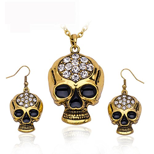 Horror Halloween Punk Crystal Ghost Skeleton Skull Gothic Long Pendant Necklace Earrings Jewelry Sets for Women
