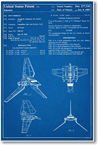 Star Wars Imperial Shuttle Patent - NEW Famous Invention Blueprint Poster