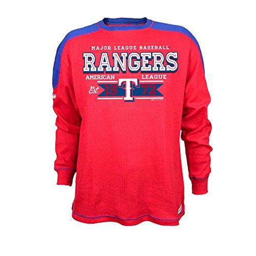 Stitches MLB Texas Rangers Men's CVC Thermal Long Sleeve Crewneck Top, X-Large, (Texas Rangers Long Sleeve)