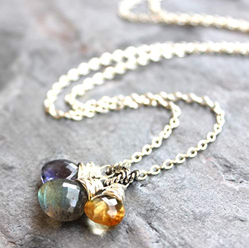 Trio Gemstone Pendant Necklace Labradorite Iolite Citrine Sterling Silver Blue Gray 18 Inch