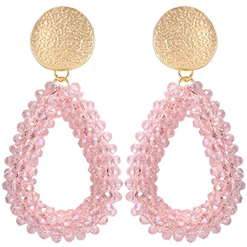 Stylebar Teardrop Beaded Earrings for Summer Bohemian Pink Bead Boho Drop Dangle Earring Handmade Jewelry for Women Girls Daily Wedding Party