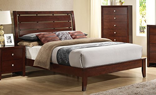 Major-Q 9020400q Contemporary Brown Cherry Finish Queen Size Bed