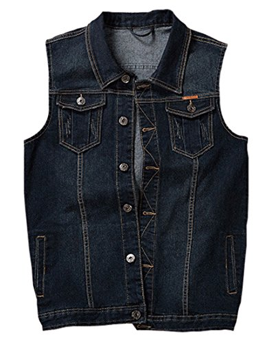 Jenkoon Men's Casual Sleeveless Lapel Jean Denim Vest Jacket (Dark Blue, Large) by Jenkoon