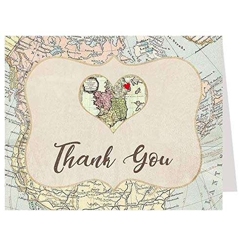 Thank You Cards, Bridal Shower Thank You Cards, Tan, Blue, White, Pink, Red, Yellow, Brown, Map, Map Thank You Card, Adventure Bridal Shower, Heart, Bride To Be, Set of 50 Folding Notes with Envelopes