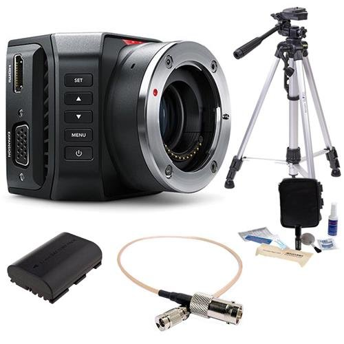 Blackmagic Design Micro Ultra HD Studio Camera 4K, Micro Four Thirds Mount - Bundle With Full Size Tripod, Spare Battery, BNC Female to DIN 1.0/2.3 RG-179 Cable 1', Cleaning Kit
