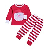 YJM Christmas Santa Baby Toddler Girls Boy Tops Stripe Pants 2Pcs Set Outfit Clothes (Red, 5T)