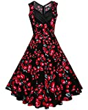 Search : DONWORD Women's Floral Audrey Hepburn Vintage 1950s Rockabilly Polka Cocktail Swing Dress Party