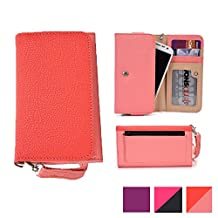 Cooper Cases(TM) Glamour Women's Clutch Universal Motorola Moto X 2nd gen / X Play / X Play Dual Sim Smartphone Wallet in Coral & Pink (Wrist Strap, Credit Card/ID Slots, Slip & Zipper Pockets)