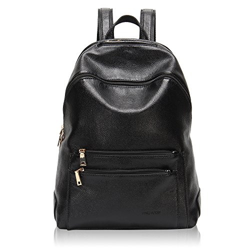 Hynes Victory Faux Leather Backpack for Women Dressy Campus Backpack Purse Black