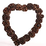Set of 2 100% Natural and Eco-friendly Glossy Pinecone Heart Wreaths Perfect for Fall or Winter Floral Arrangements, Weddings, and Decorating