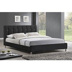 Bedroom Vino Black Modern Bed with Upholstered Headboard – Queen Size modern headboards