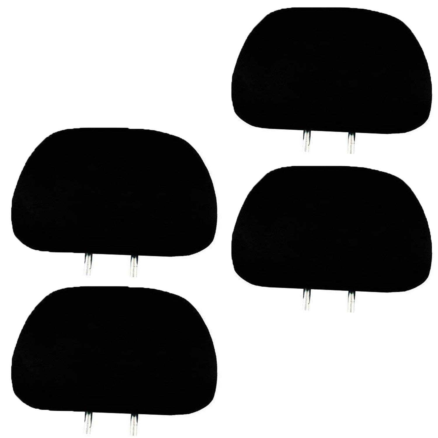 LavoHome 4 x Solid Black Universal Headrest Covers for Cars Trucks & Cover DVD tv Monitors - Set of 4