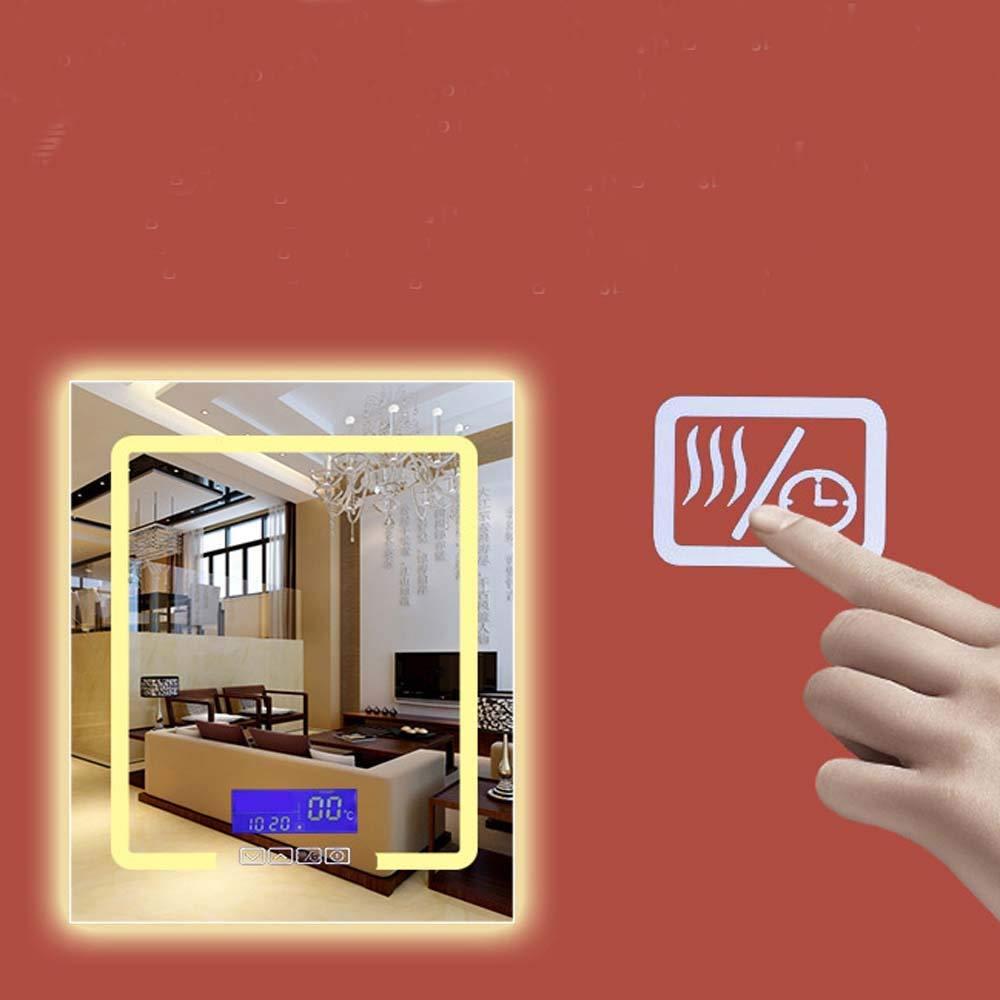浴室用ミラー付きLED照明化粧台、壁掛け式+防曇調光タッチスイッチ、横型、浴室用ミラーウォールマウント、シェービングミラー (Color : Temperature defogging, Size : 50*70CM) B07SS5FS9Z Temperature defogging 50*70CM