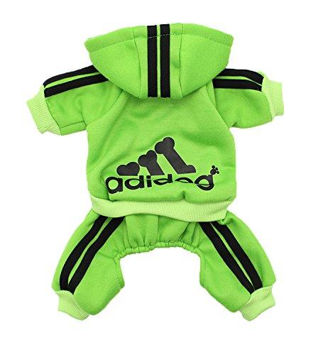 Scheppend Adidog Pet Clothes for Dog Cat Puppy Hoodies Coat Winter Sweatshirt Warm Sweater,Green S