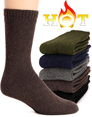 Mens Wool Socks Fuzzy Heavy Thermal Thick Warm Cotton Boot Winter Socks 5 Pairs (Mix Color A) ()