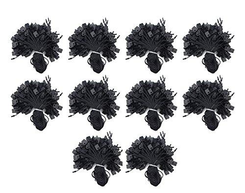 WGCD 1000PCS 7'' Hang Tag Nylon String Snap Lock Pin Loop Fasteners Hook Tie Labeling Tagging Supplies (Black) by WGCD