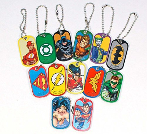- DC Comics Justice League Dog Tag Key Chains - Complete Set of 13 - Features Superman, Wonder Woman, Batman, Green Lantern, The Flash and More