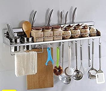 Attractive Multipurpose Stainless Steel Kitchen Utensils Organizer Holder 31u0026quot; Wall  Mounted (Pan Pot Rack,