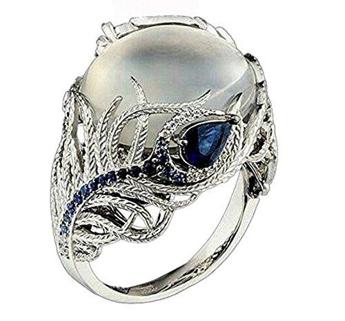 WILLTOO Clearance Fashion Womens Moonstone Sapphire Engagement Diamond Ring Wedding Ring (Multicolor, US (Cut Gold Vermeil Diamond)