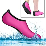 hot water swim - Water Socks for Women - Extra Comfort - Protects Against Sand, Cold/Hot Water, UV, Rocks/Pebbles - Easy Fit Footwear for Swimming (Pink & Black, (M) Women - 8-10)