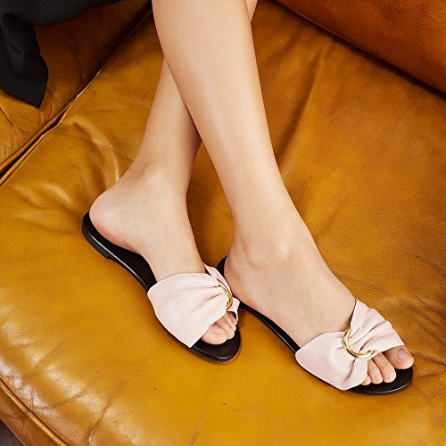 Toe Couleur Pur Chaussures Été CWJ Pantoufles Plates Sandales UNE Arc Ouvert Femmes nXU5aw
